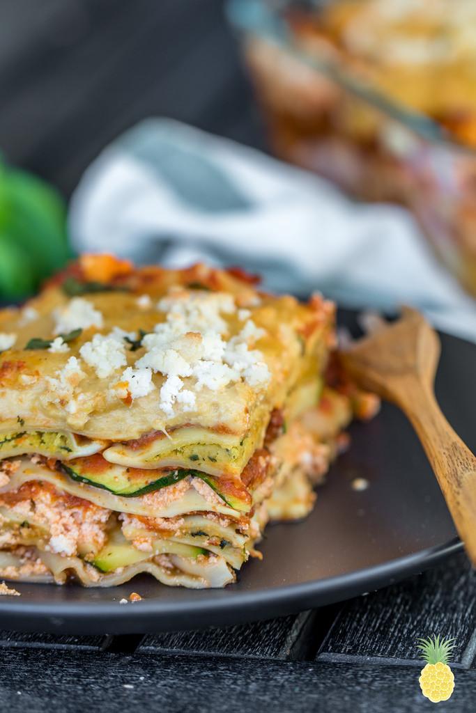 Epic stuffed ravioli lasagna with stretchy cashew mozzarella