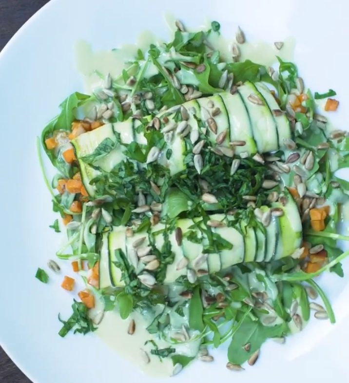 Zucchini Roll Up, Over a Bed of Arugula