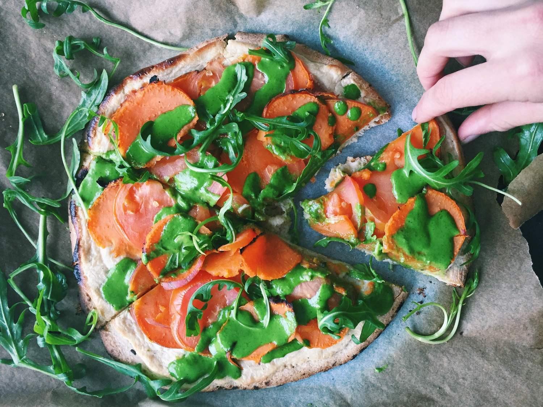 Sweet Potato Pizza with Creamy Roasted Garlic Cashew Sauce
