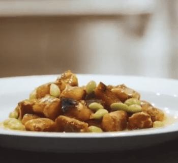 Vegan Gnocchi with Edamame and Caramelized Leek Turmeric Sauce