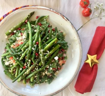 Pan-fried Toasted Greens with Pomegranate and Cauliflower Rice Salad