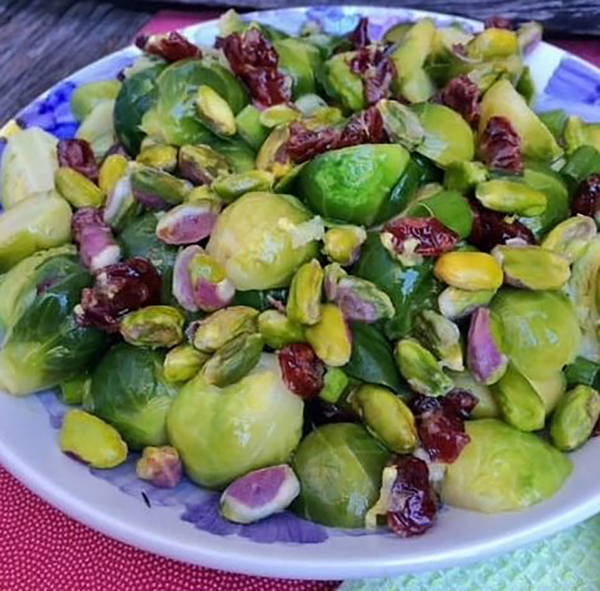 Brussels Sprouts, Pistachio, and Cranberry Salad
